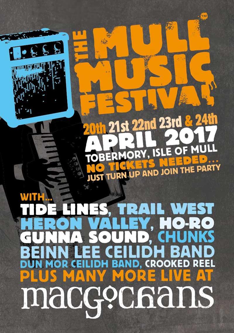 Mull Music Festival 2017 poster for MacGochans Tobermory