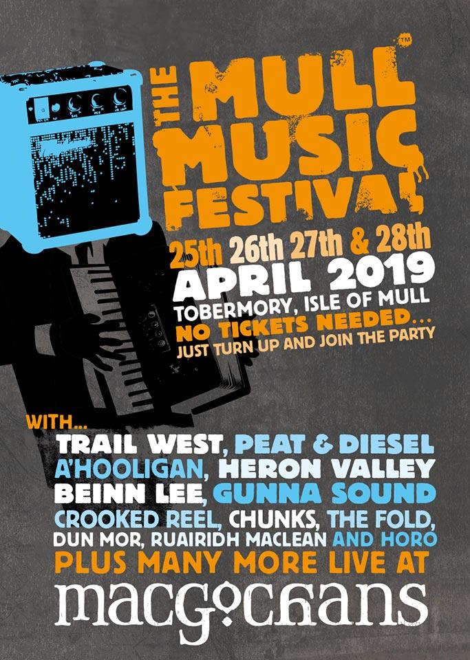 Mull Music Festival 2019 poster for MacGochans Tobermory