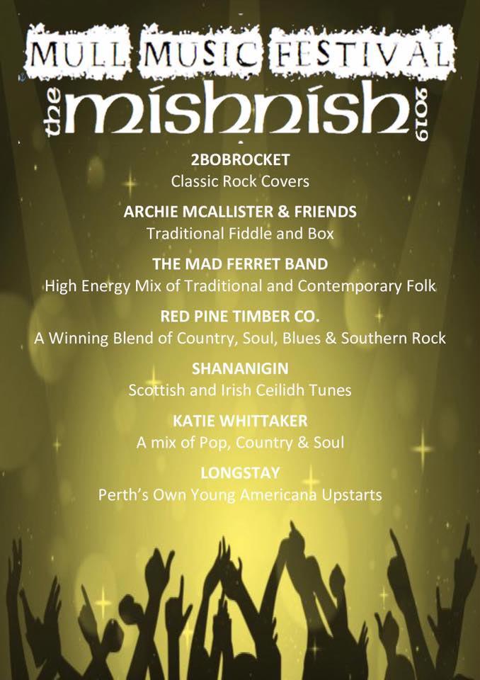 Mull Music Festival 2019 poster for the Mishnish Hotel