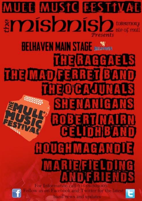 Mull Music Festival 2013 poster for the Mishnish Hotel