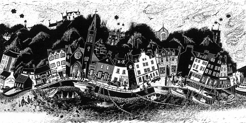 scratchboard artwork of Tobermory